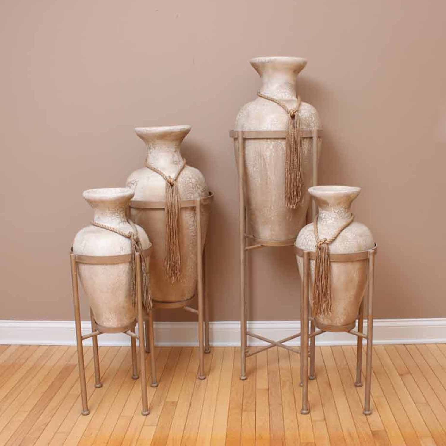set of four large decorative floor vases with stands ebth