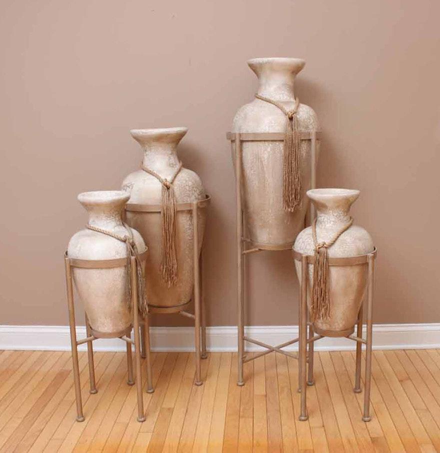 set of four large decorative floor vases with stands ebth. Black Bedroom Furniture Sets. Home Design Ideas