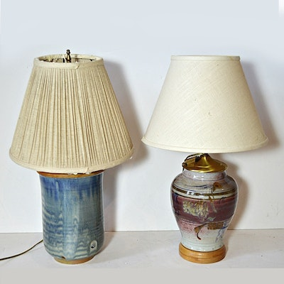 Vintage floor lamps retro table lamps antique lighting in two pottery table lamps mozeypictures Choice Image