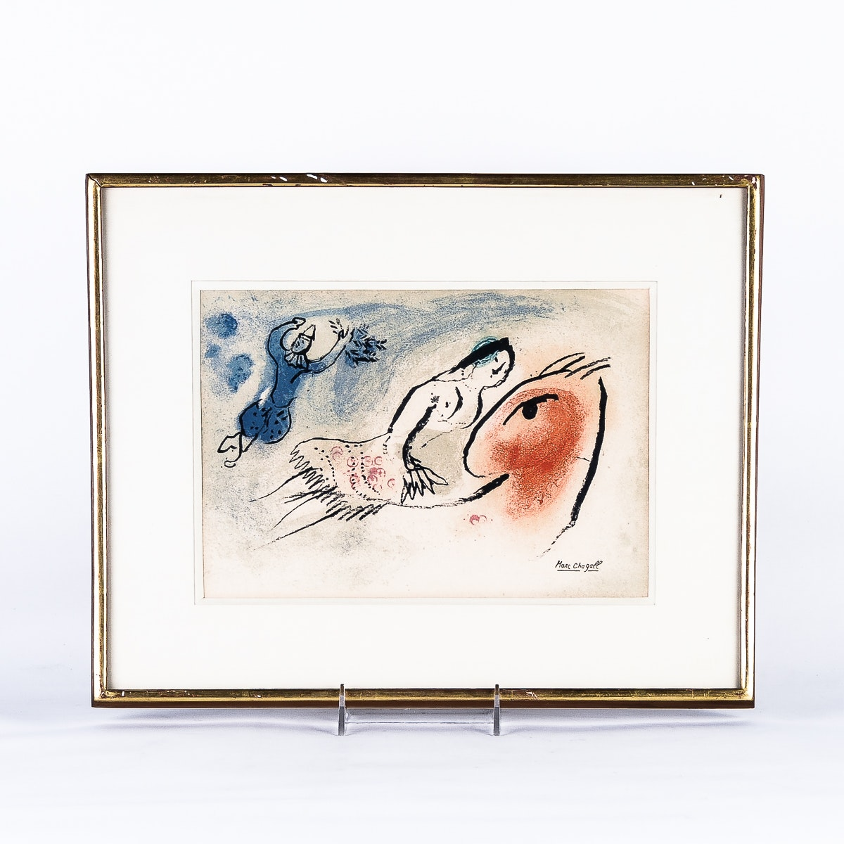Color Lithograph of Marc Chagall's Greeting Card for Aime Maeght