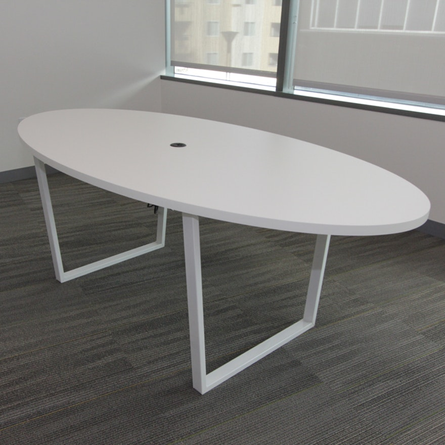 White Oval Conference Table EBTH - White oval conference table