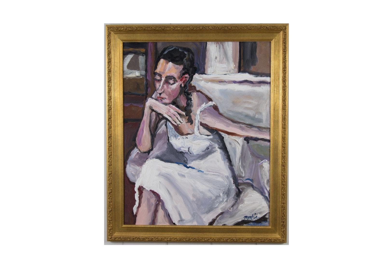 "Richard Mantia Acrylic on Canvas ""Madam Poppy Salinger"""