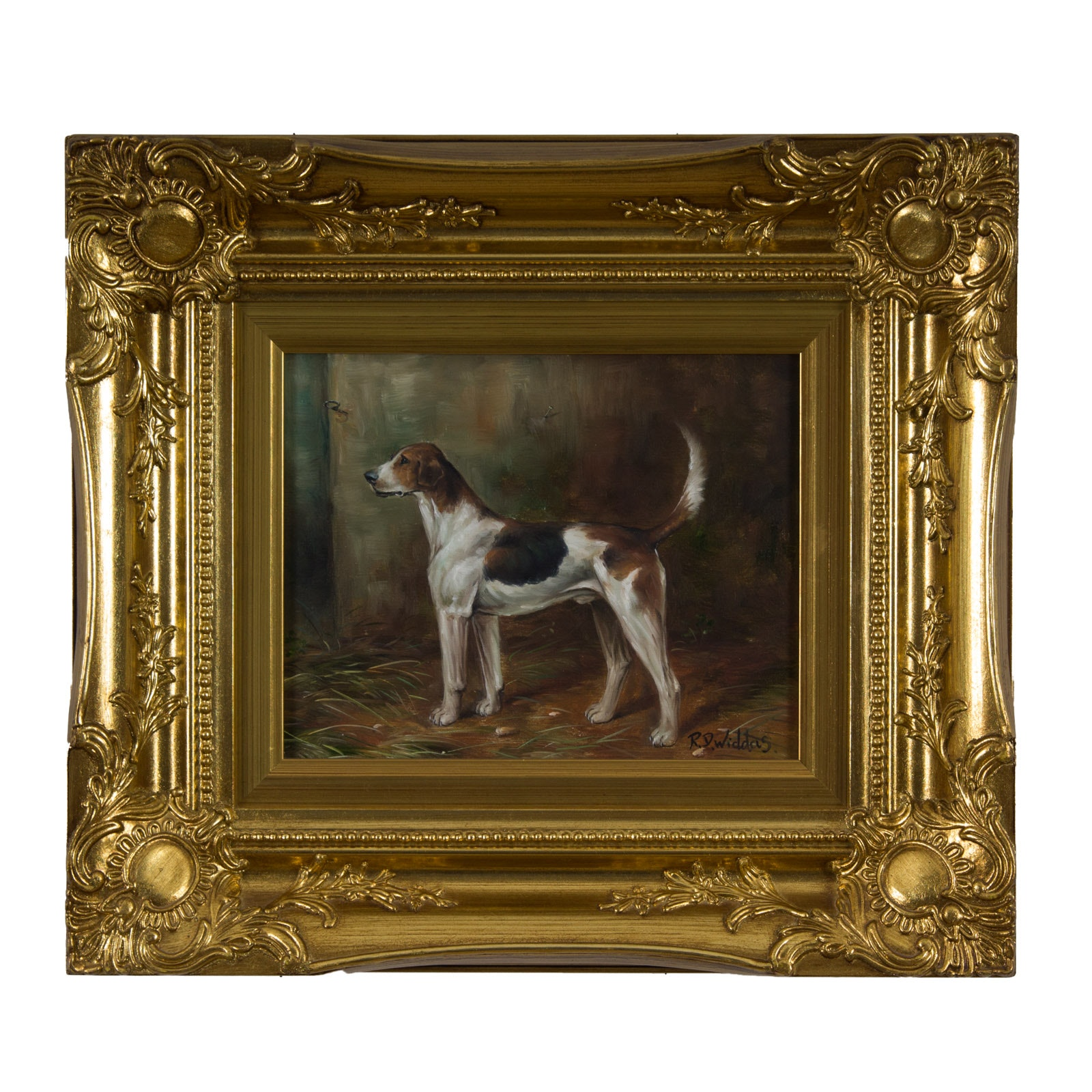 R.D. Widdas Dog Theme Oil on Canvas