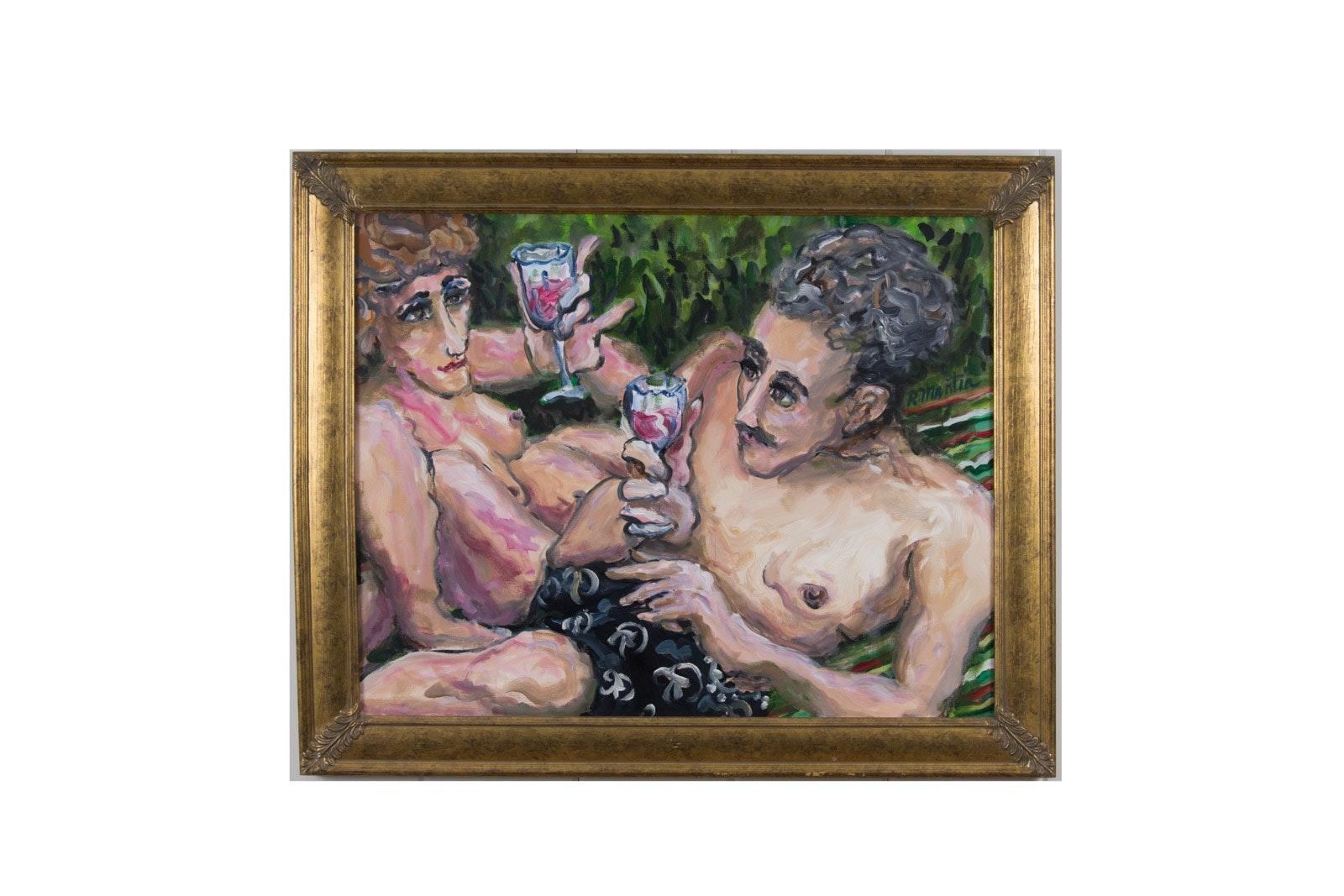 """Richard Mantia Acrylic on Canvas """"Le Pique - Nique"""""""