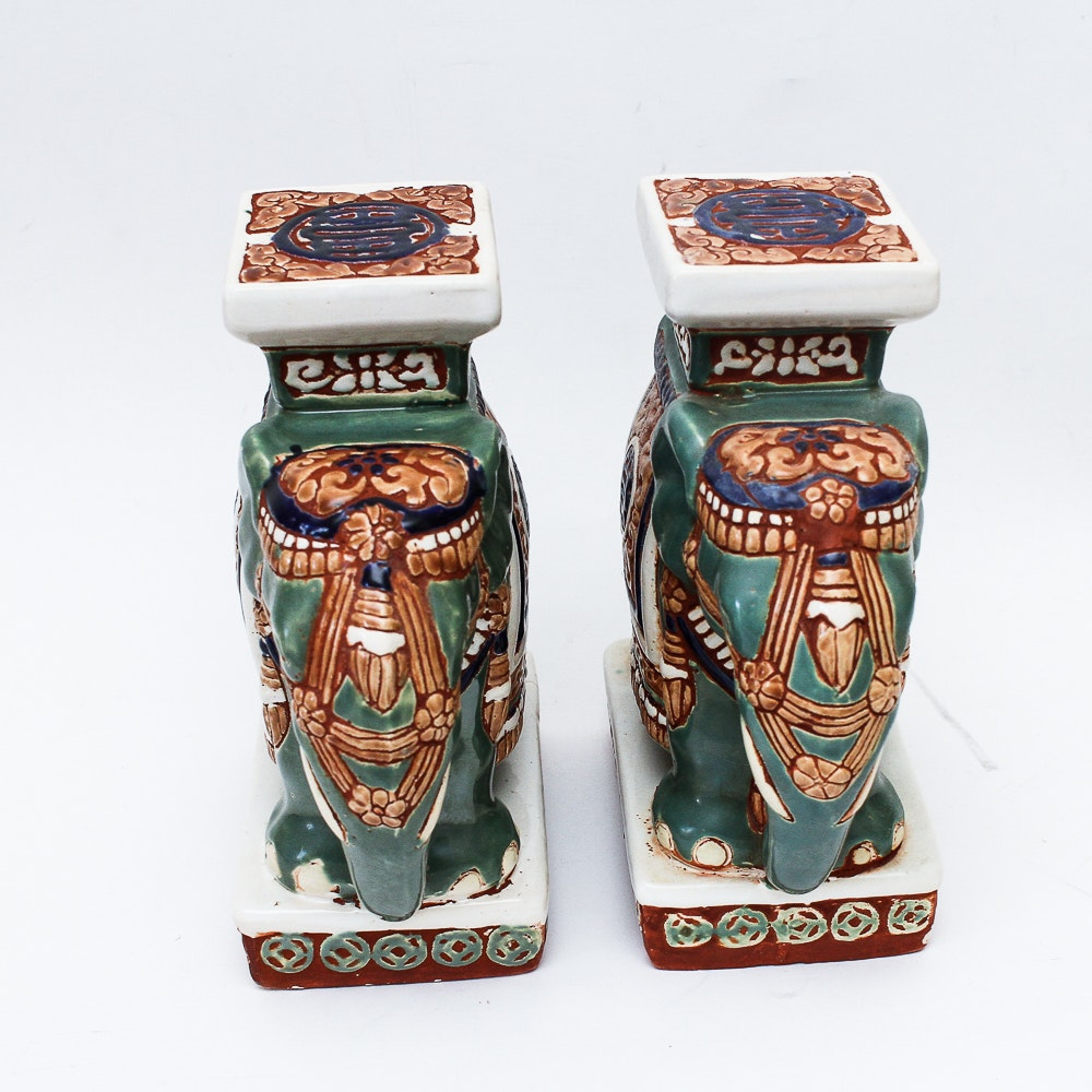 Set of Pottery Elephant Bookends