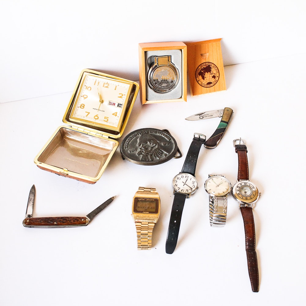 Collection of Vintage Men's Accessories and Clocks