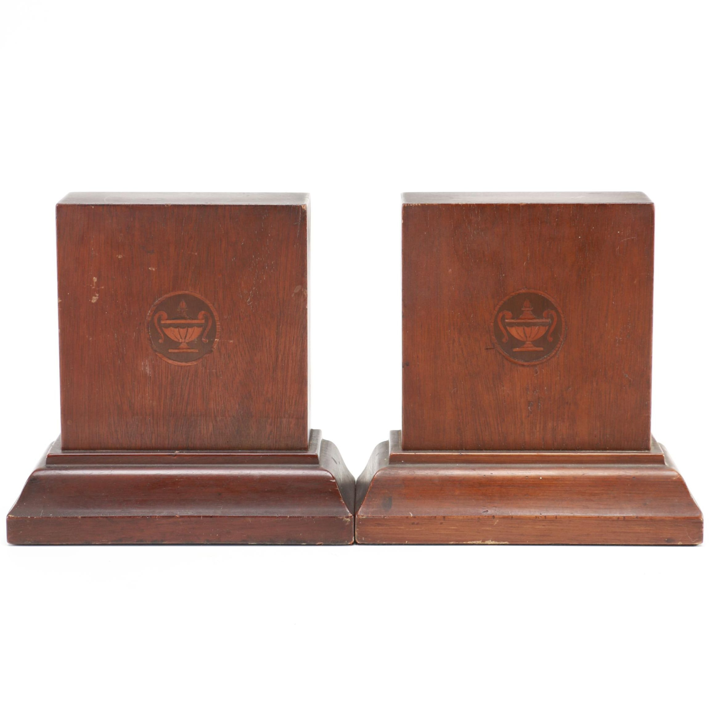 Mahogany Bookends With Inlaid Decoration