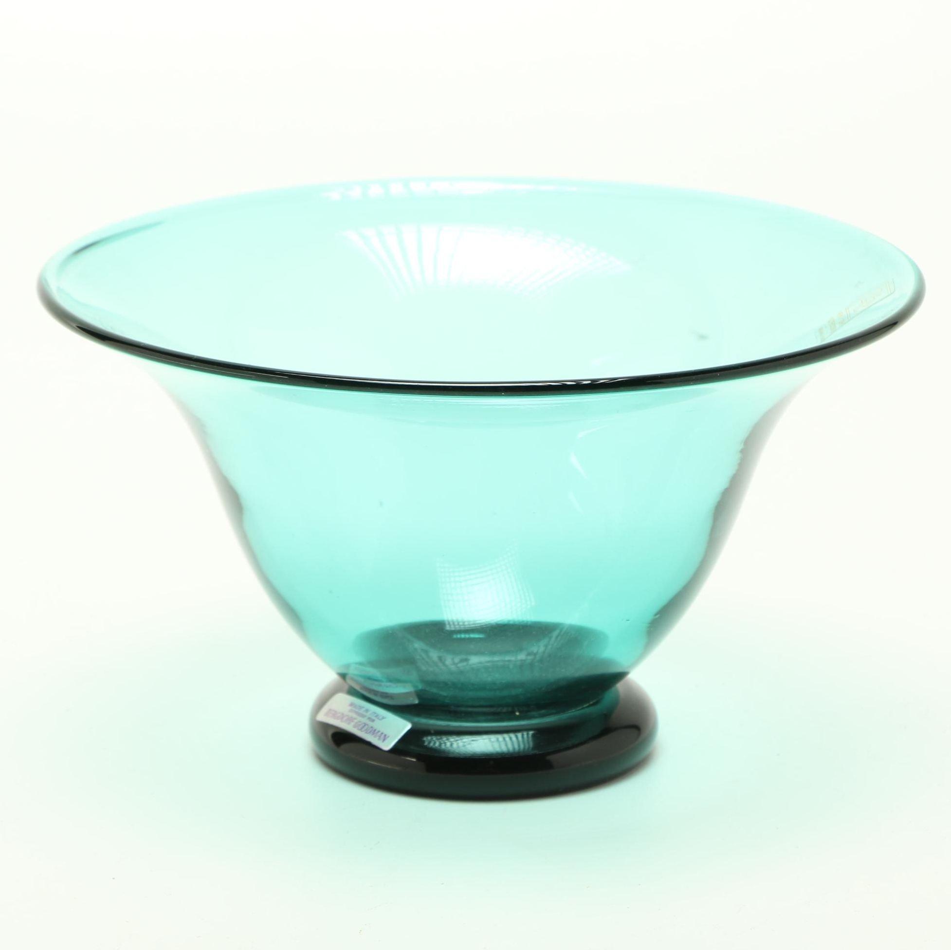 Bergdorf Goodman Italian Murano Green Glass Bowl