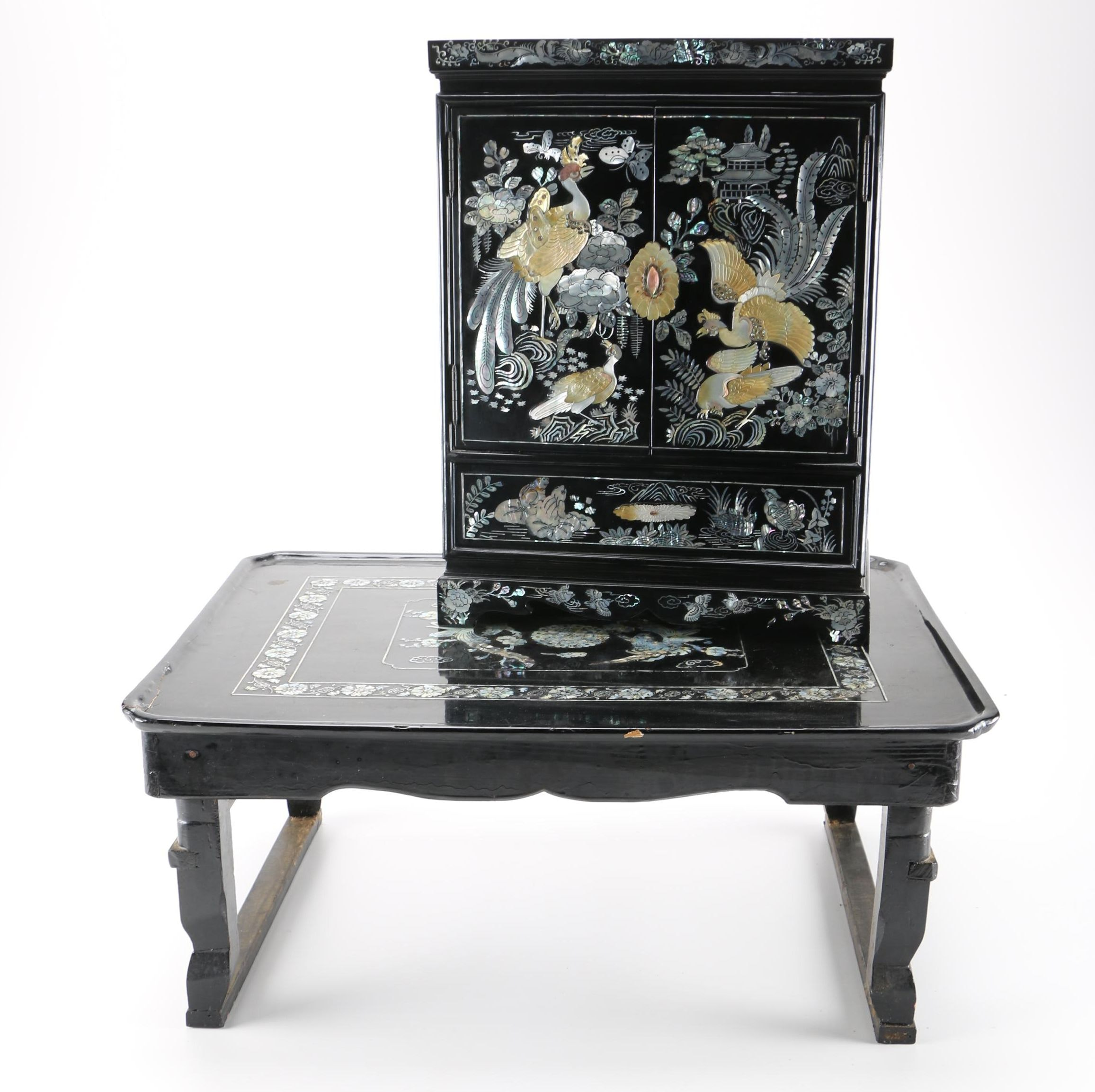 Chinese Mother Of Pearl Inlay Jewelry Chest and Bed Tray