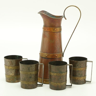 Mexican Copper Pitcher and Mugs