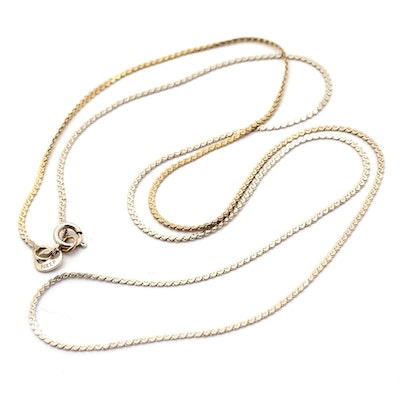 14K Yellow Gold Flat 'S' Link Chain Necklace : EBTH