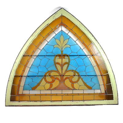 Circa 1890 Gothic Arch Stained Glass Window