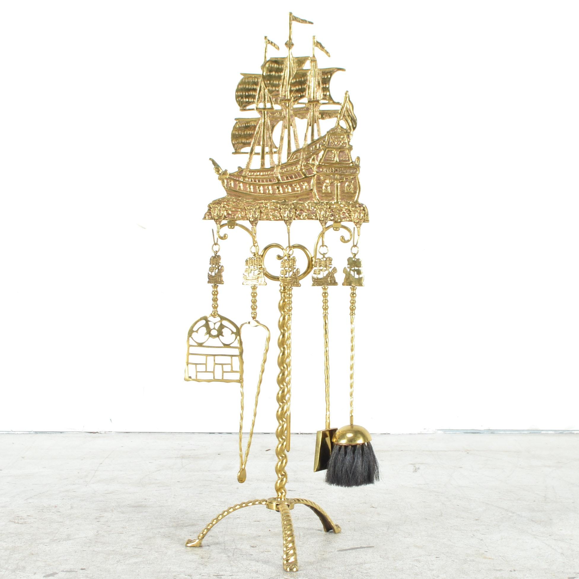cast brass sailing ship fireplace tool stand ebth