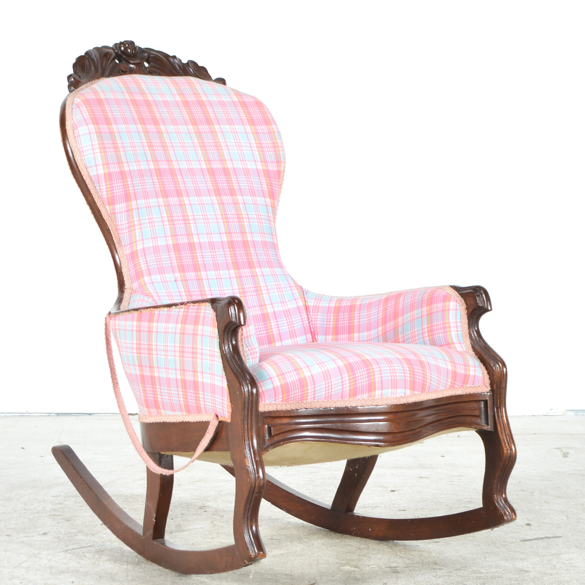 Antique Plaid Upholstered Rocking Chair
