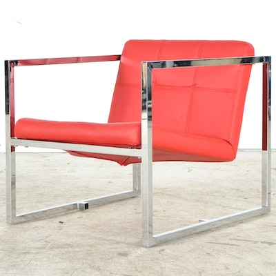 "Whiteline Modern Living ""Lisa"" Red Leatherette Chair"