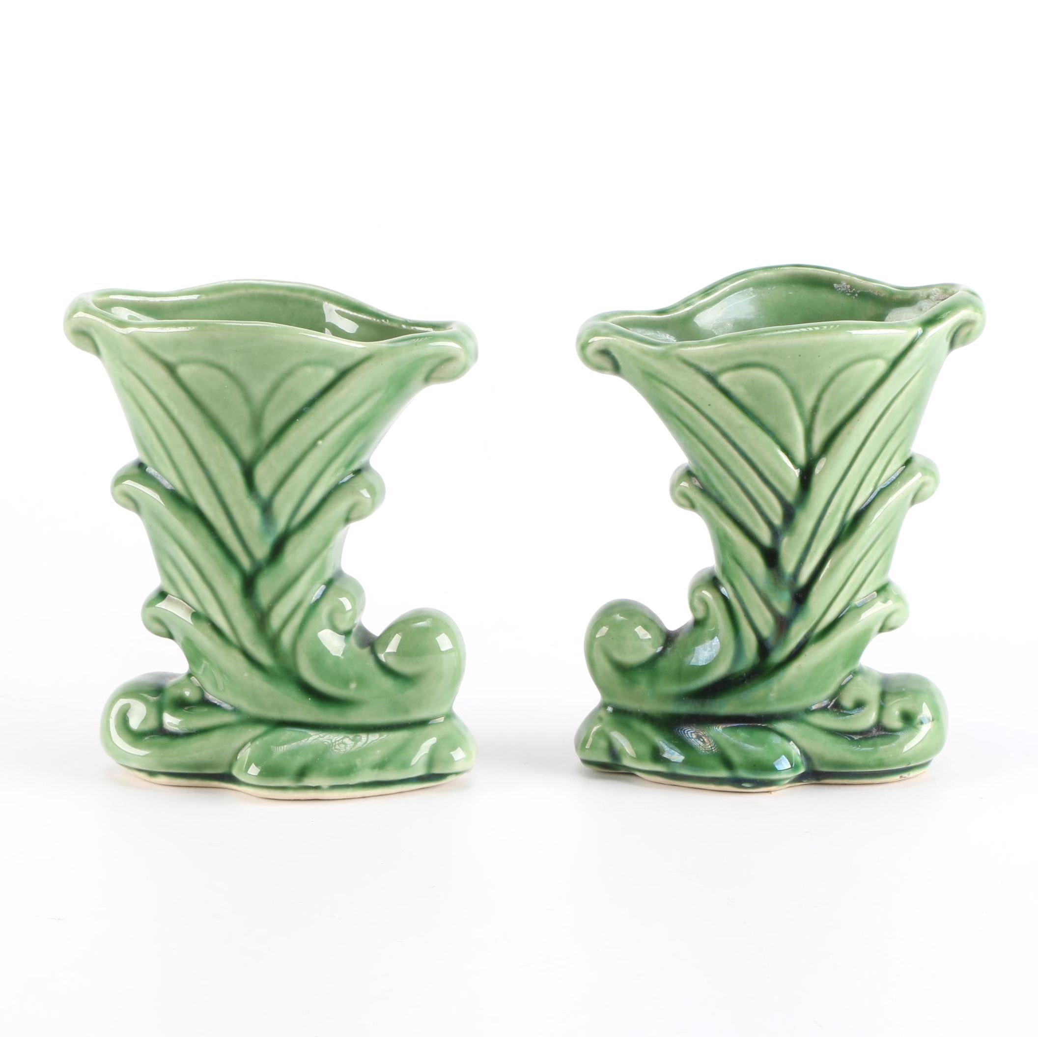 Pair of Green Glazed Pottery Vases
