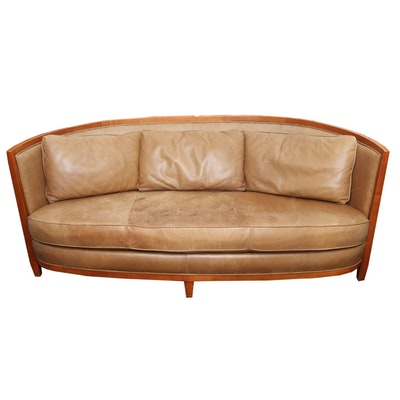 mid century modern leather couch ebth. Black Bedroom Furniture Sets. Home Design Ideas