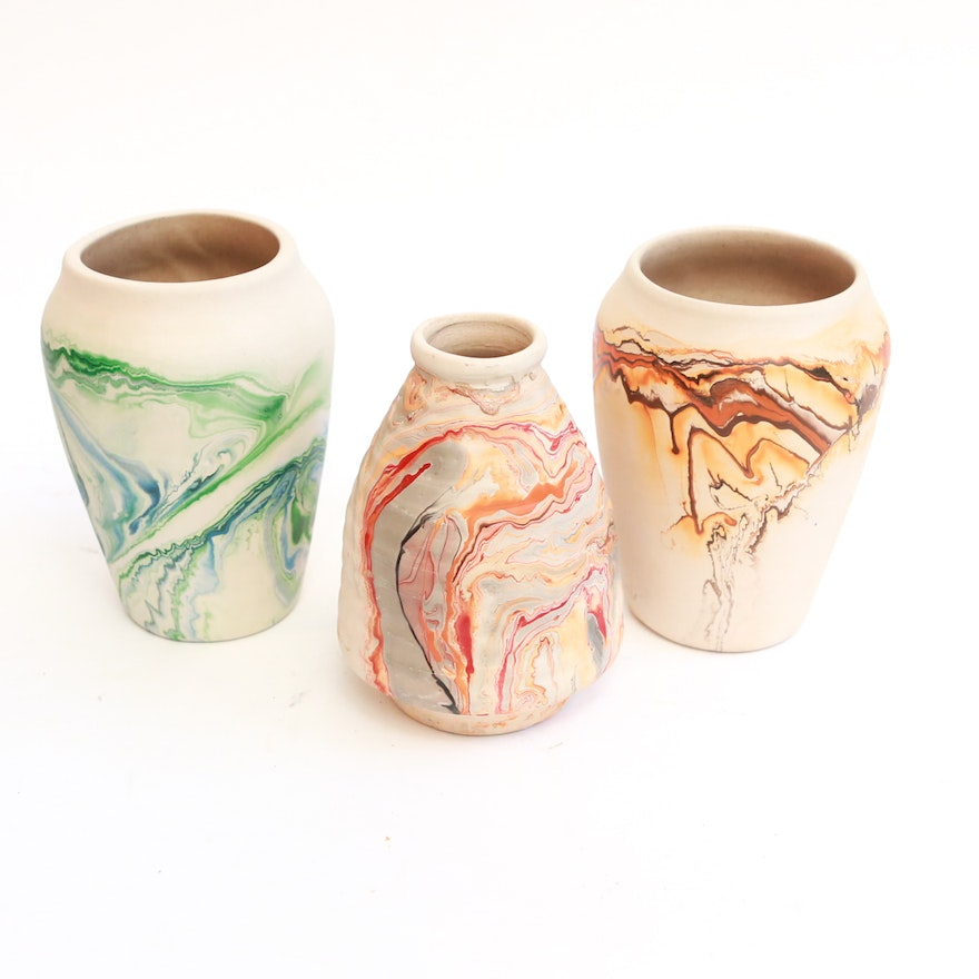 Assortment of Nemadji Pottery Vases