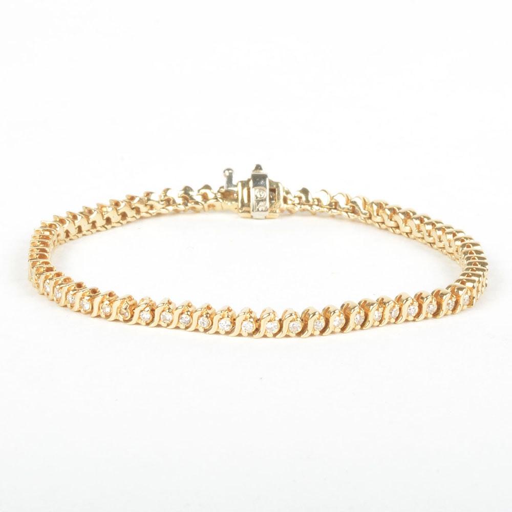 0.96 CTW Diamond and 14K Yellow Gold Sweeps Tennis Bracelet