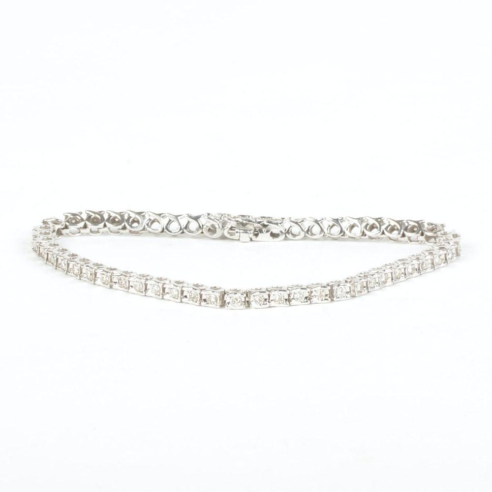 14K Gold 1.00 CTW Diamond Tennis Bracelet