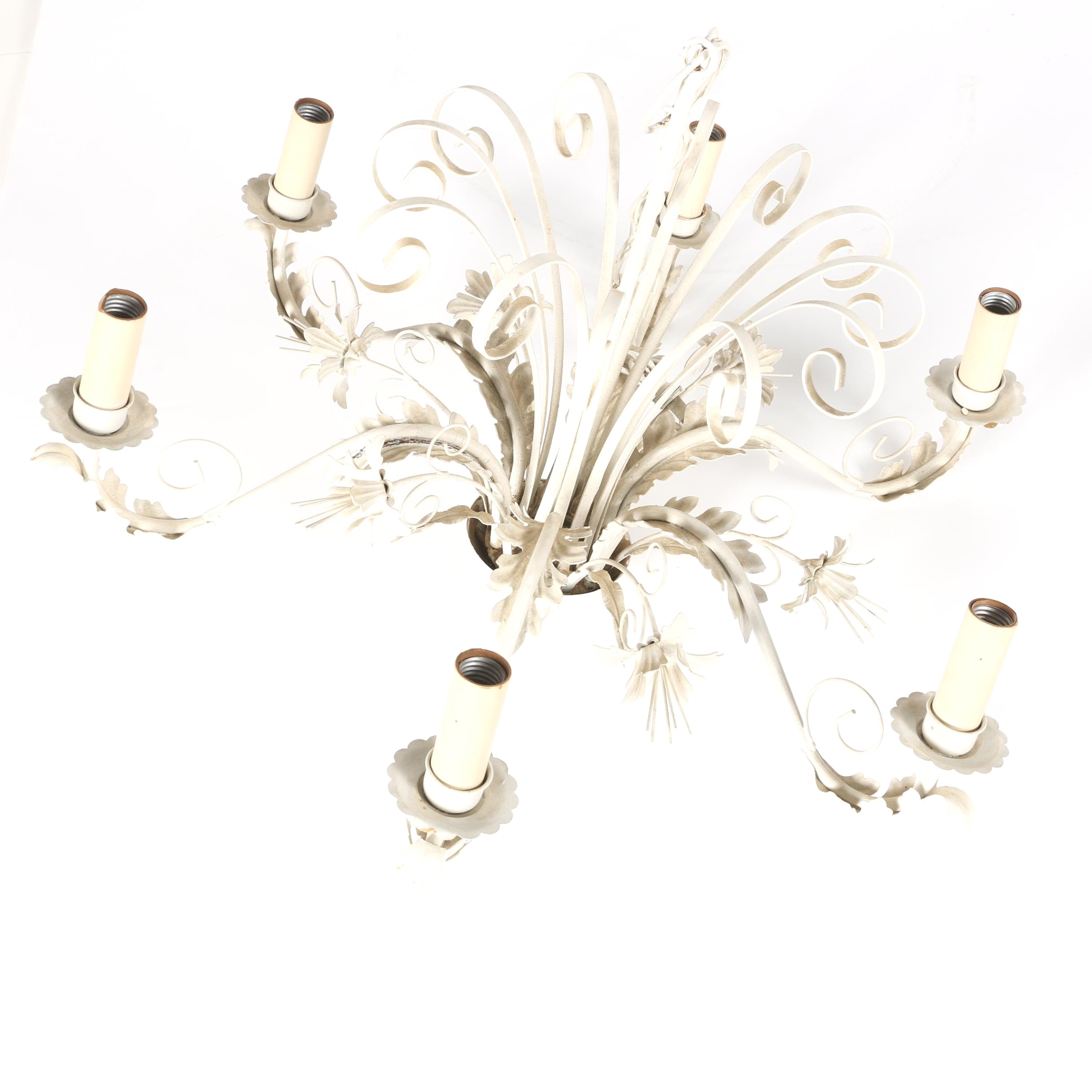 White Chandelier With Flowers