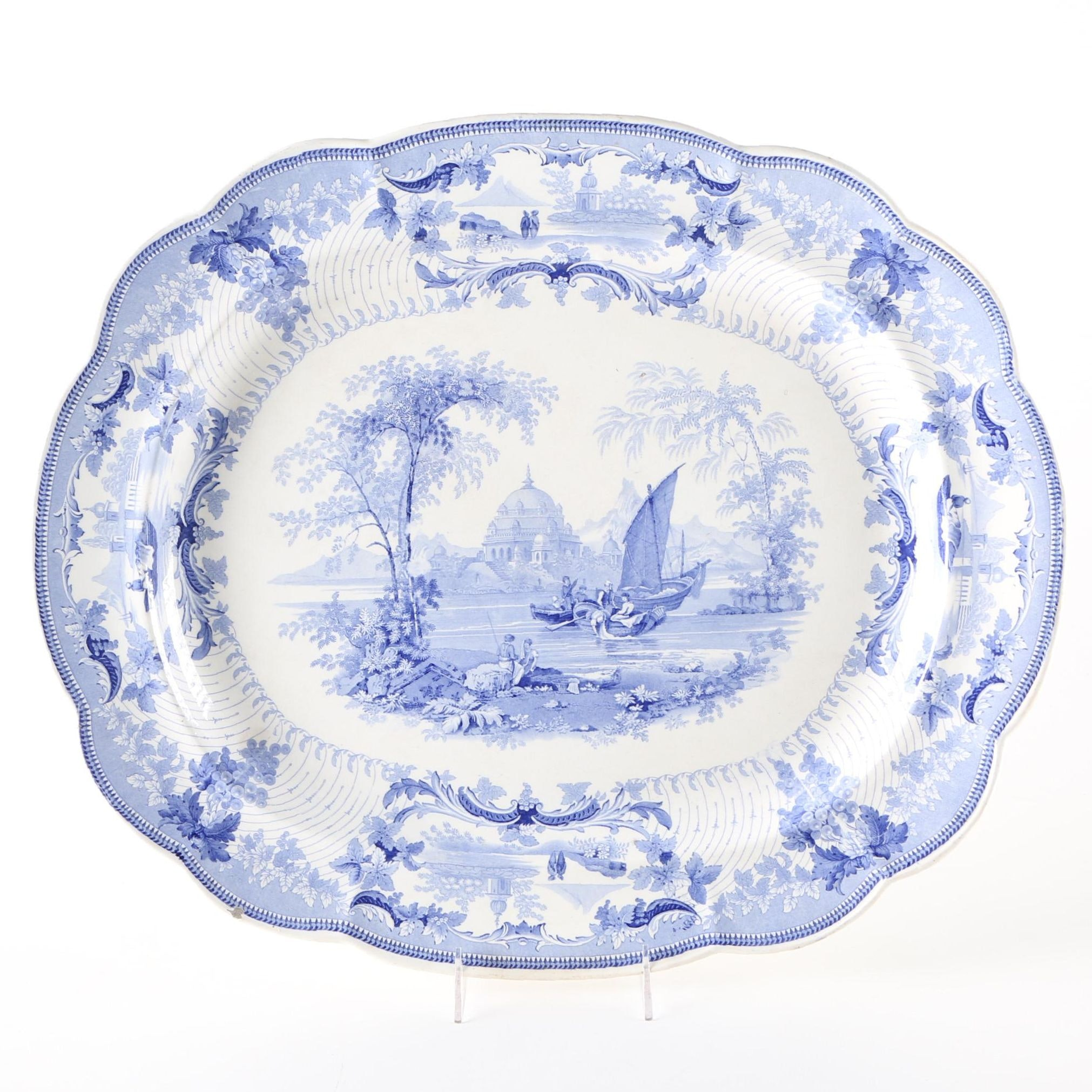 Blue and White 19th Century China Platter