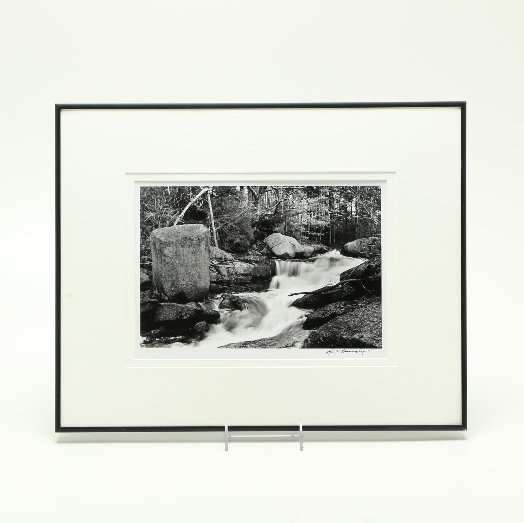 Signed Framed Photograph of a Stream