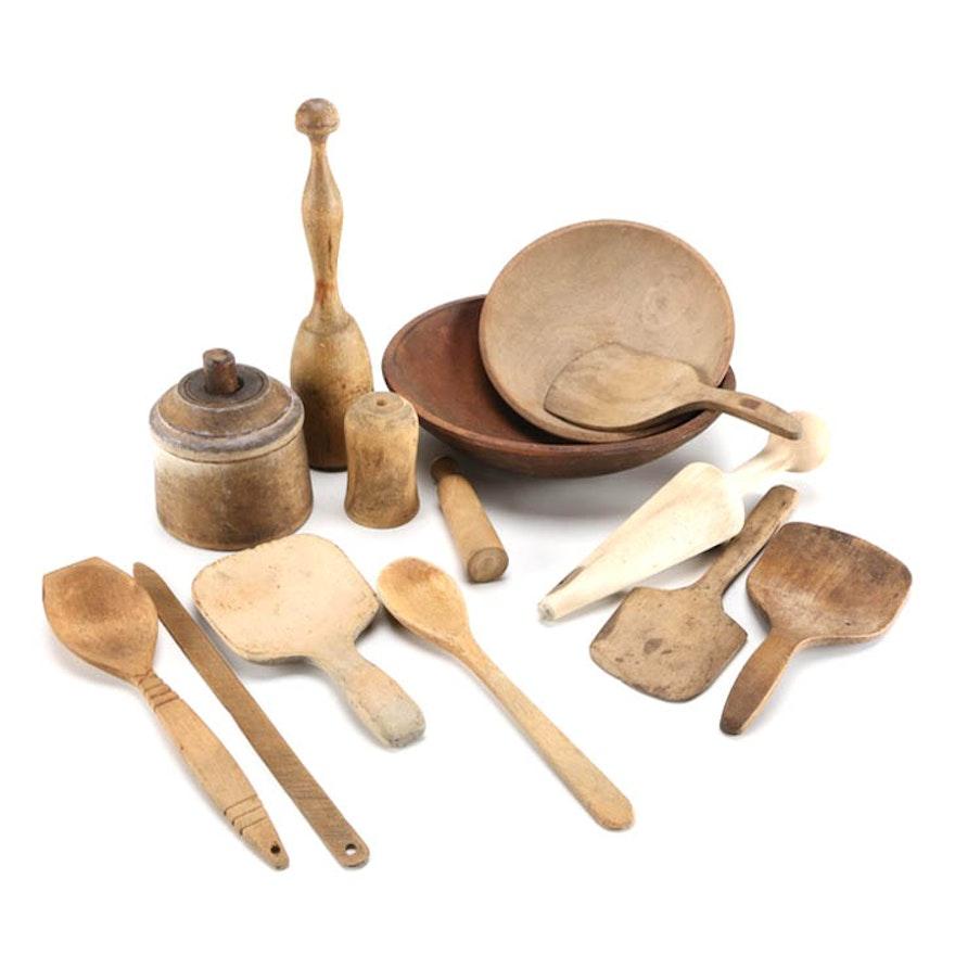 Antique Wooden Kitchen Tools