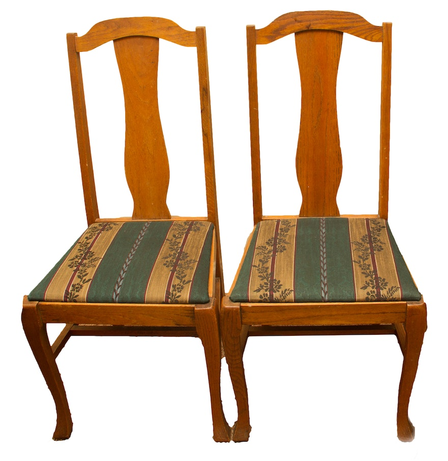Pair Of Vintage Queen Anne Style Dining Chairs EBTH
