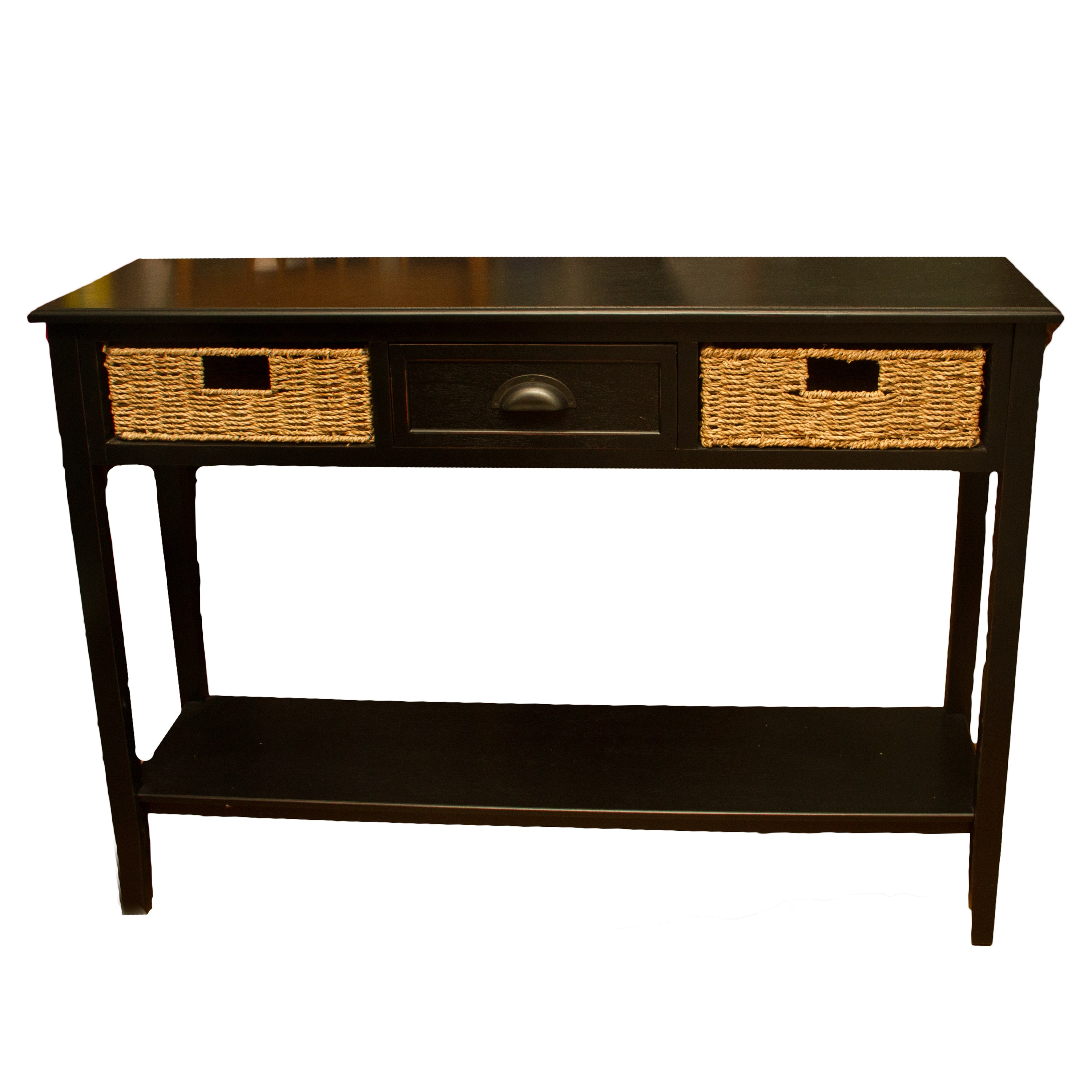 Black Console Table With Wicker Baskets Ebth