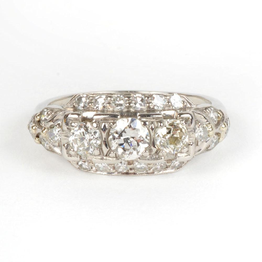 Antique Paladium Diamond Ring
