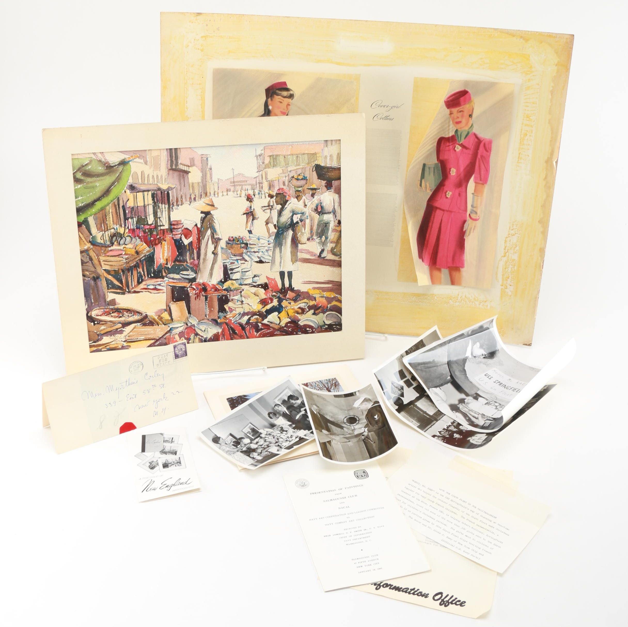 Louis Kaep Watercolors and Memorabilia with Cover-Girl Mock Up
