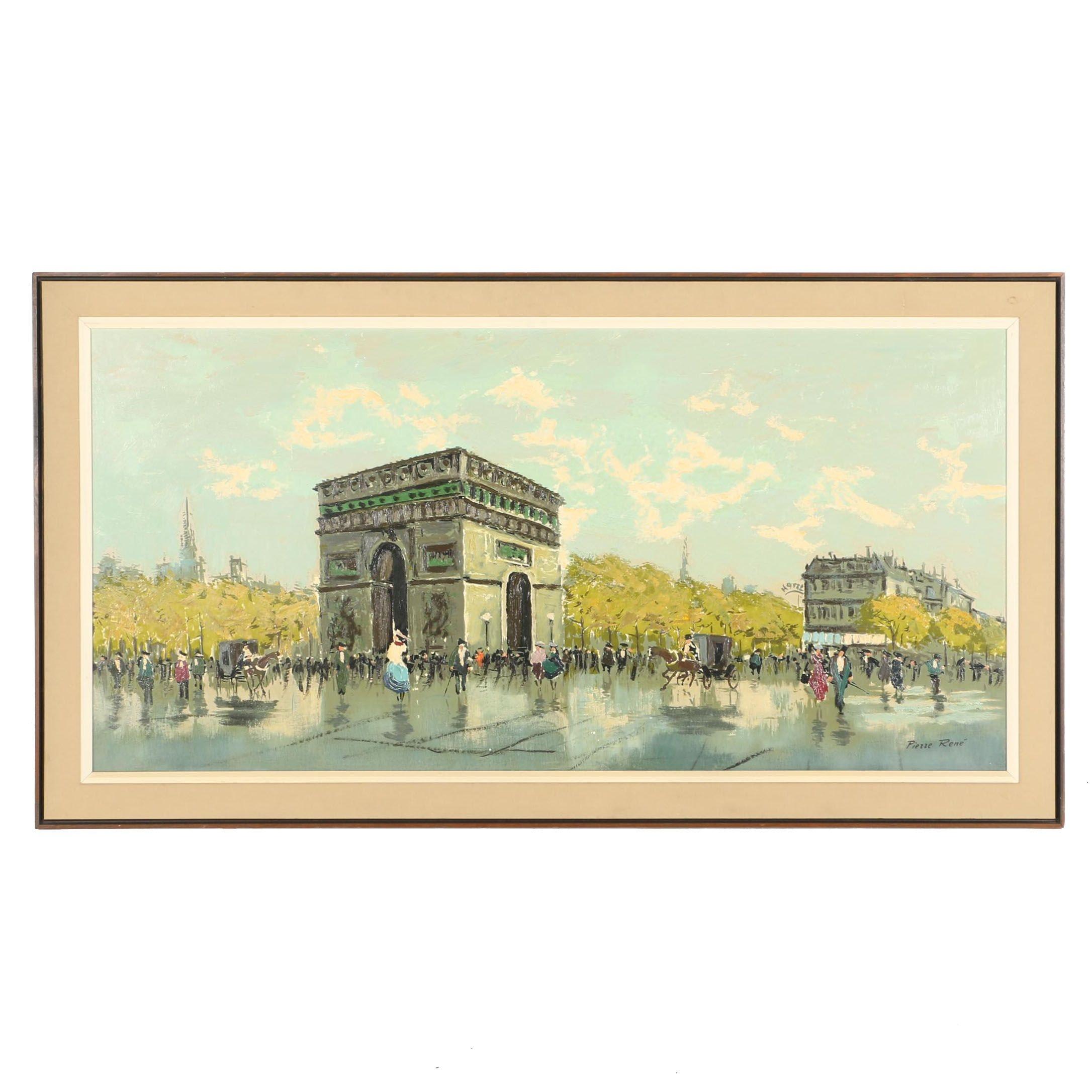 "Pierre Rene Signed Original Oil Painting ""Arc de Triumph"""
