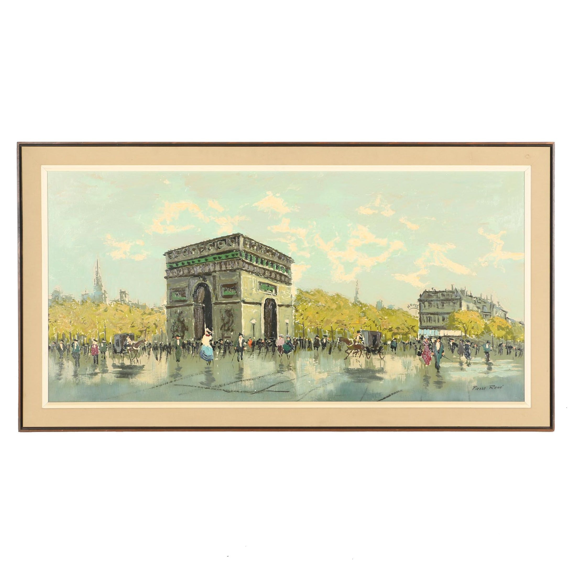 "Pierre Rene Signed Original Oil Painting ""Arc de Triumph"""
