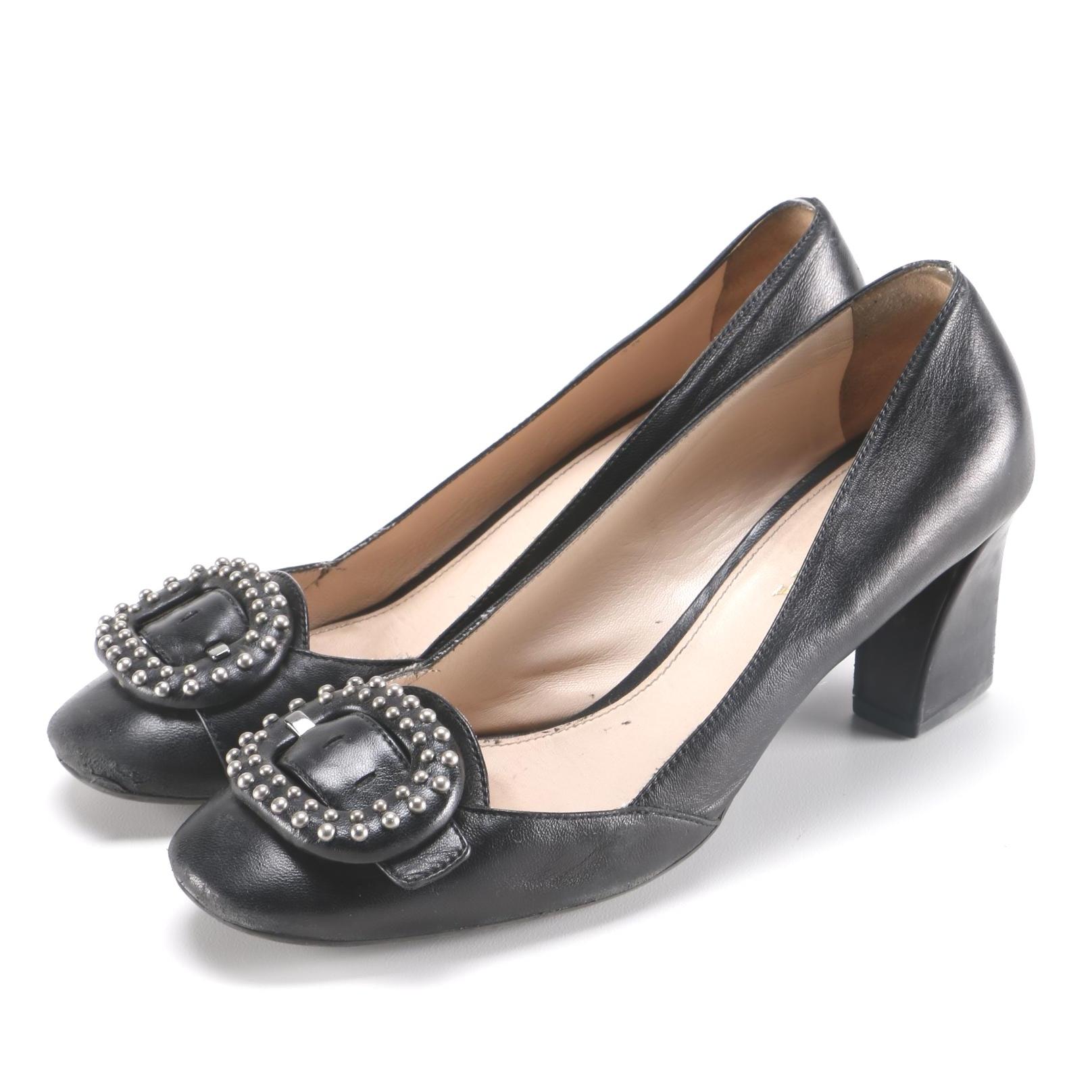 Prada Calzature Donna Black Leather Pumps