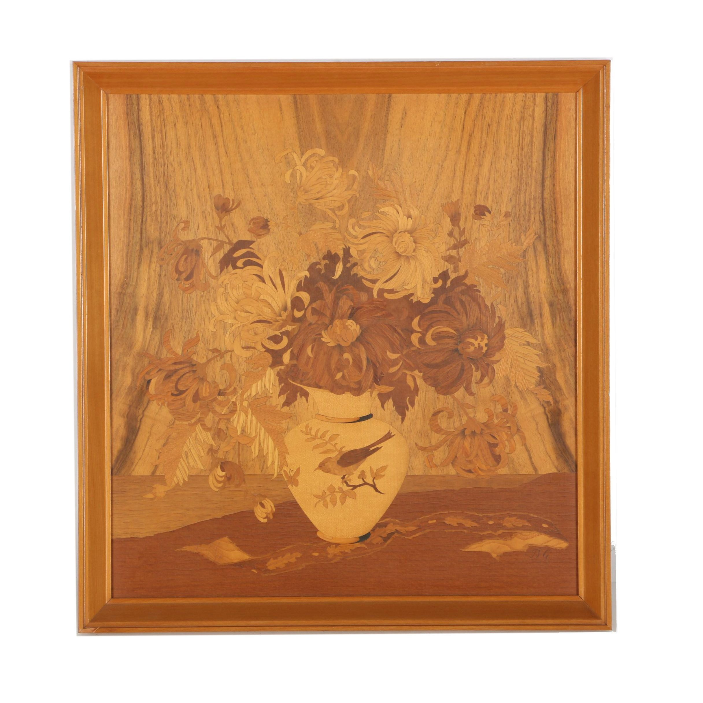 Buchschmid Gretaux Framed Marquetry Plaque Circa 1950