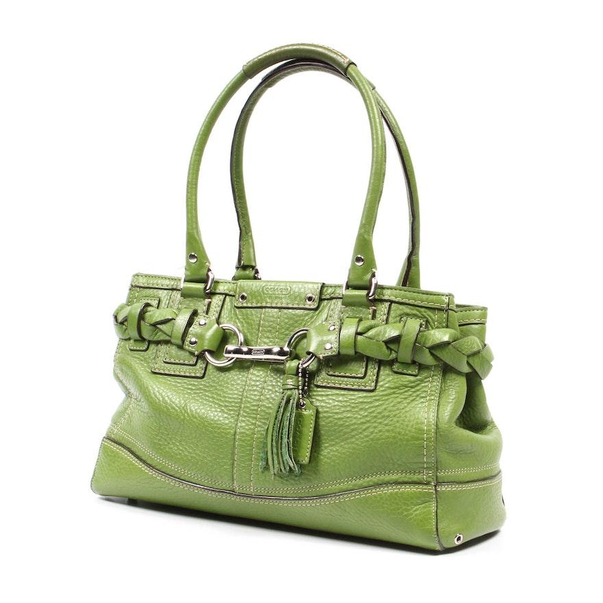 3fd53dfb96 Coach Green Leather Hampton Handbag   EBTH