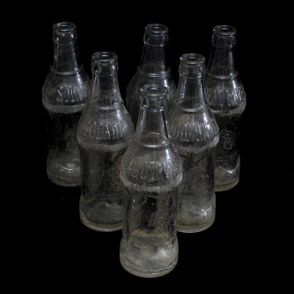 Collection of Vintage Indian River Soda Water Bottles Coca-Cola