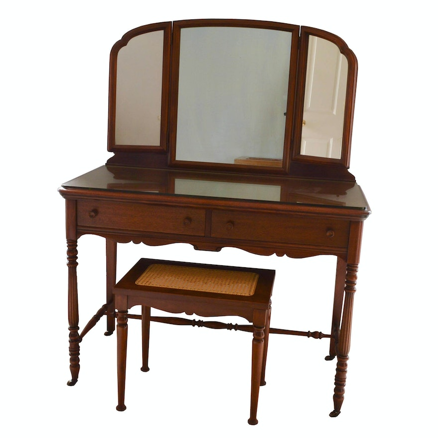 Vintage Wood Vanity With Mirror And Cane Bench Ebth