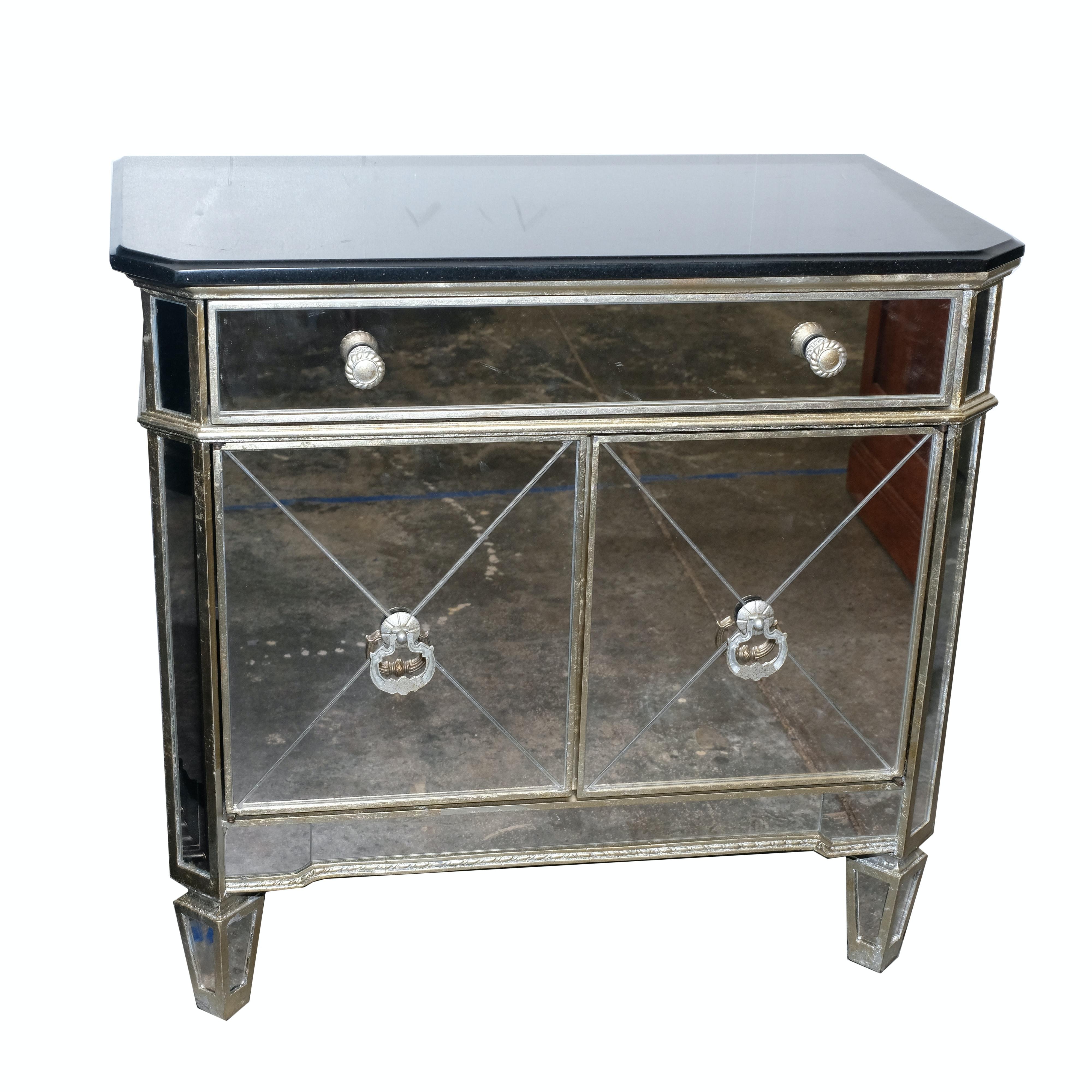Zhong Shun Wood Art Company Mirrored Nightstand With Stone Top