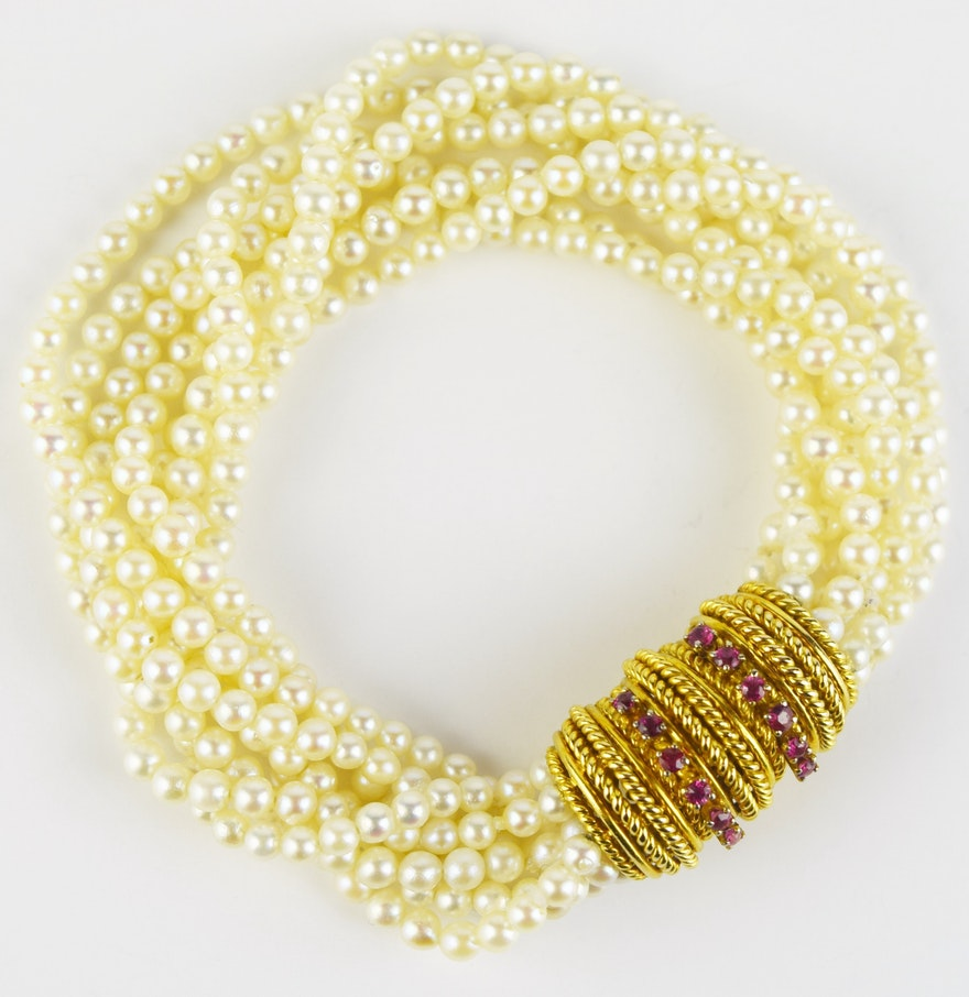 Eight Strand Pearl Bracelet With 14k Yellow Gold And Ruby Clasp