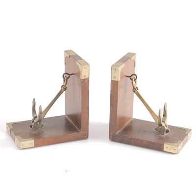 Taiwanese Wood and Brass Anchor Bookends