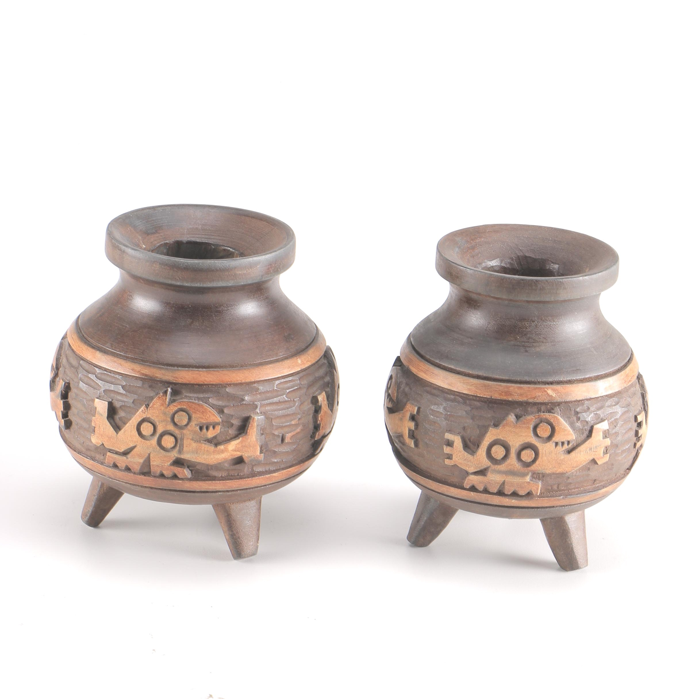 Southwest Inspired Carved Wood Candle Holders