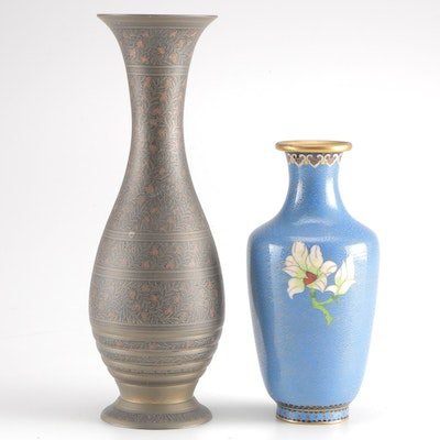 Vases Featuring Etched Brass and Cloisonné