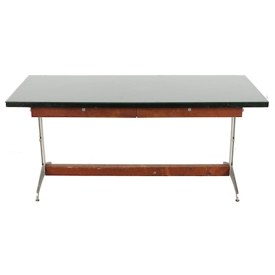 Industrial Style Two-Drawer Work Table