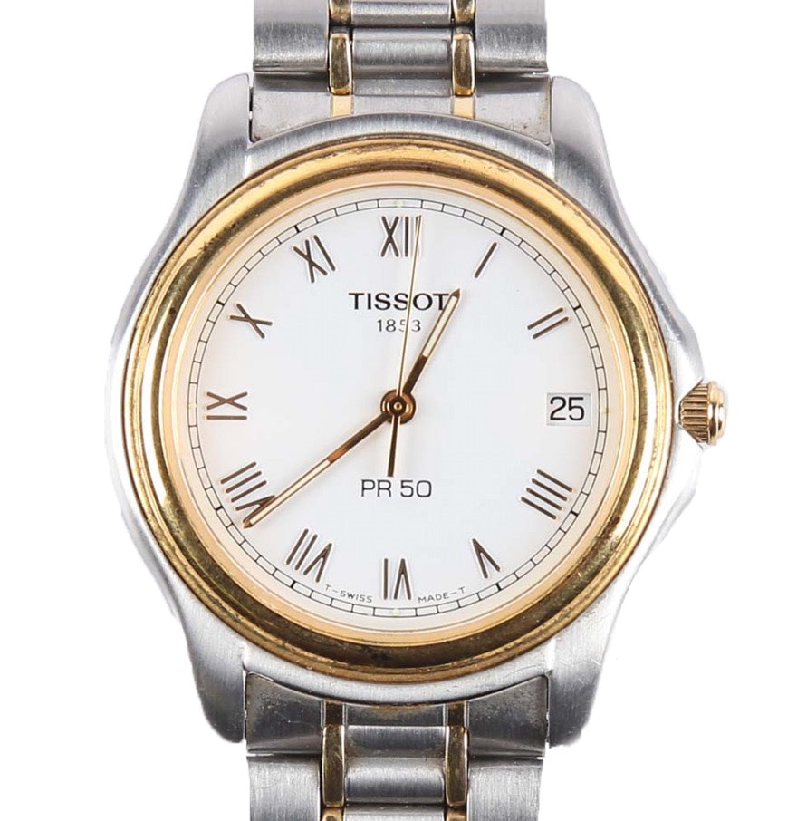 Tissot Stainless Steel And Gold Tone Menu0027s Wristwatch ...