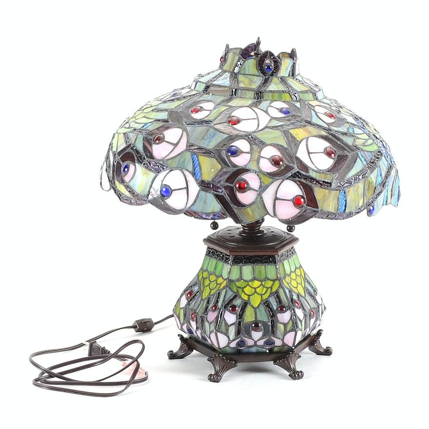 Tiffany Style Peacock Table Lamp Ebth