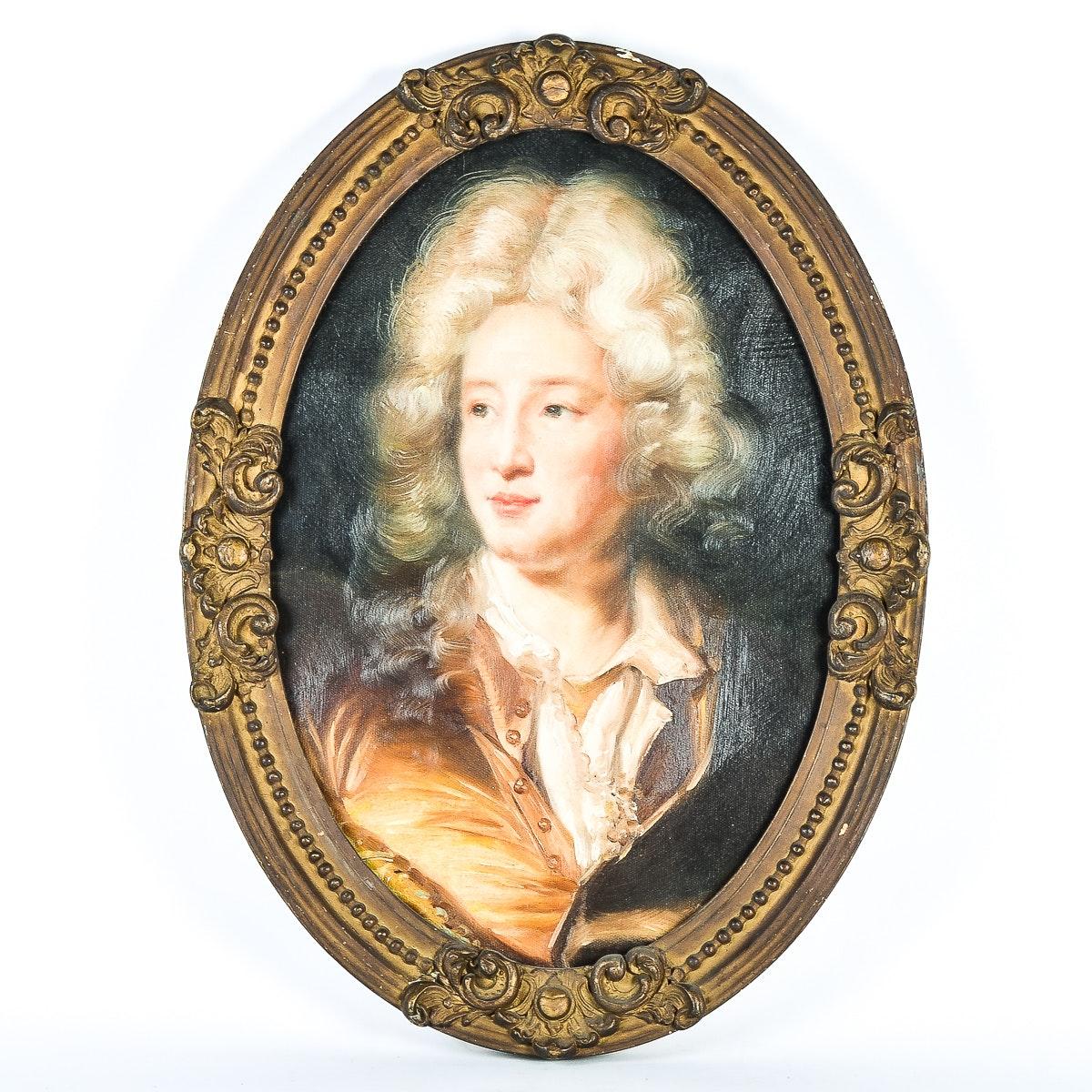 Rococo Style Original Oil Portrait in Oval Frame