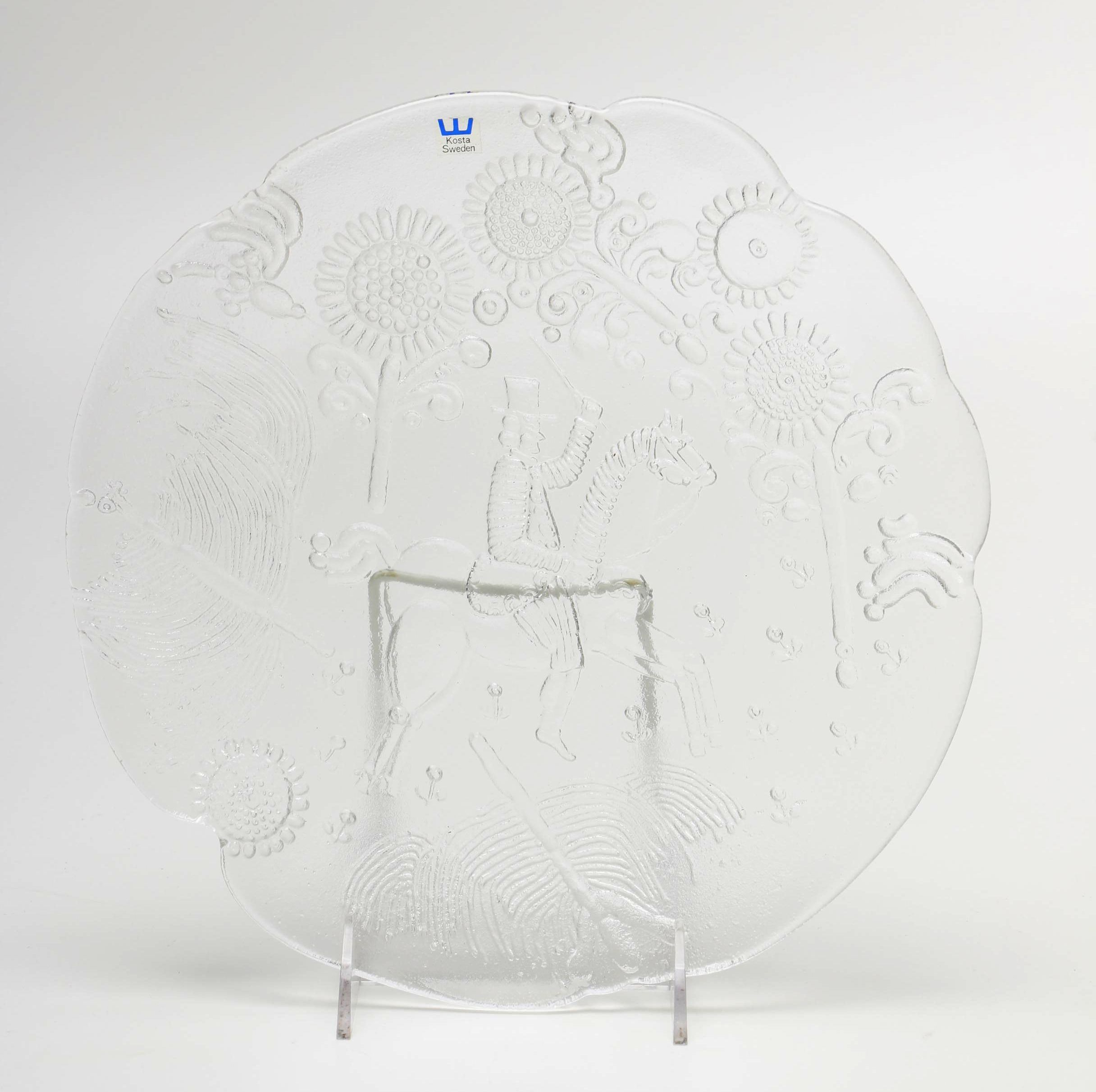 Ann and Göran Wärff Embossed Glass Platter by Kosta