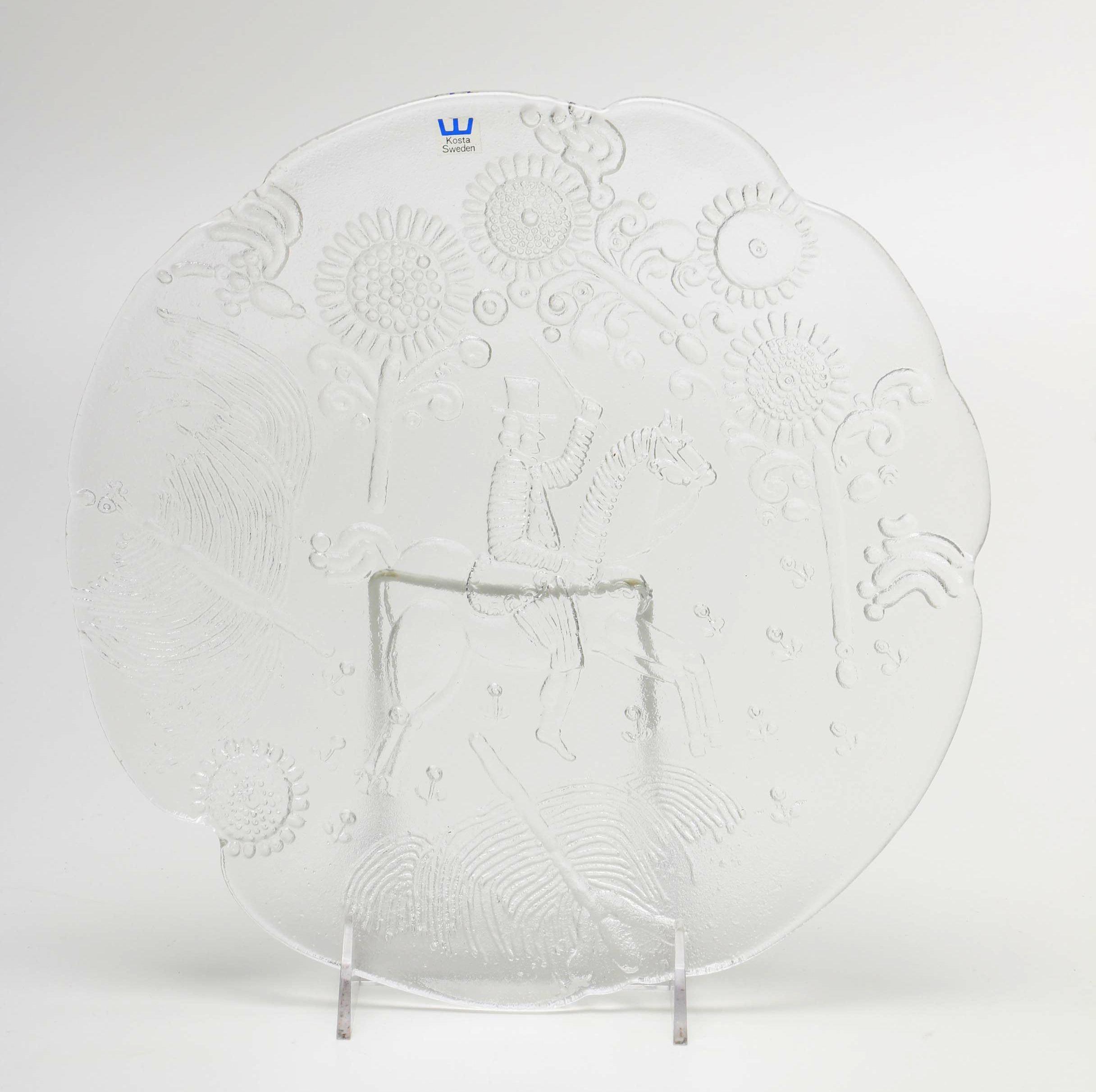 Ann and Göran Wärff Embossed Glass Platter by Kosta